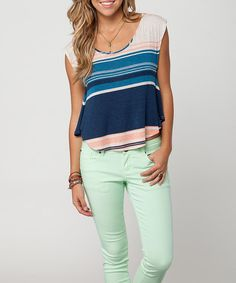 Take a look at this Blue & Pink Stripe Tyner Top by O'Neill on #zulily today!