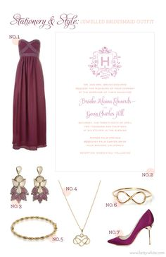 Stationery & Style: Jewelled Bridesmaid Outfit featuring our 'Love Logo No. 26' wedding invitation  // Flights of Fancy (click for image sources)