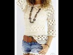 Blusa blanca tejida a crochet blusas Blusa blanca tejida a crochet - Patrones gratis Blouse Au Crochet, Débardeurs Au Crochet, Cardigan Au Crochet, Pull Crochet, Mode Crochet, Crochet Woman, Crochet Tops, Crochet Gratis, Crochet Summer