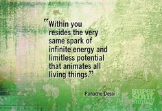 """""""Within you resides the very same spark of infinite energy and limitless potential that animates all living things."""" ~Panache Desai   #quote"""