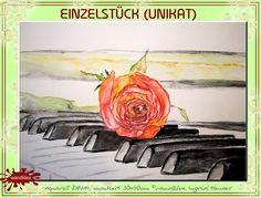 Aquarell - Aquarell montiert 30x40cm Rose Piano - ein Designerstück von wandklex bei DaWanda  © wandklex Ingrid Heuser, Ratzeburg/Germany - my work is available also for you - e.g. via my website  www.wandklex.de or shop on DaWanda: http://www.de.dawanda.com/shop/wandklex also feel free to visit and to like my fansite on facebook: http://www.facebook.com/wandklex