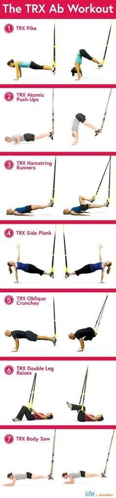 The TRX Ab Workout  Abs Exercise, Fitness Training, Resistance Band, Ab Exercises, Trx Workout, Fitness Workout Health, Ab Workouts, Trx Abs, Trx Band Ab Exercises with resistance bands 7 TRX Ab Exercises - I absolutely LOVE the TRX. #trx