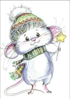 Little Christmas Mouse drawing. Christmas Drawing, Christmas Art, Vintage Christmas, Maus Illustration, Illustrations, Photo Illustration, Cute Images, Cute Pictures, Illustration Inspiration