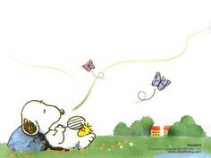 Snoopy and Woodstock, on a summer's day.