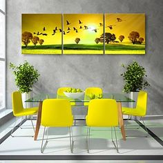 Stretched Canvas Art Fly In The Morning  Decorative Painting Set of 3 – USD $ 79.99