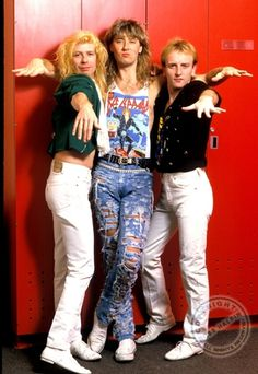 """Def Leppard - Steve Clark, Joe Elliott, and Phil Collen, """"Stop the hate and carry the load! Come on, get this show on the road! Def Leppard, 80s Music, Rock Music, Great Bands, Cool Bands, Vivian Campbell, Phil Collen, Joe Elliott, Kid Rock"""