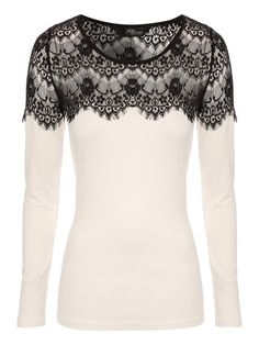 Lace Trim Long sleeve top | Jane Norman
