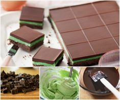 This pretty-as-a-picture Choc-peppermint slice is perfect for afternoon tea. Fudge, Peppermint Slice, Peppermint Chocolate, Peppermint Patties, No Bake Slices, Cake Slices, Jelly Slice, Chocolate Slice, Chocolate Mints
