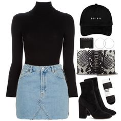A fashion look from October 2016 featuring Topshop skirts, Valentino ankle booties and Yves Saint Laurent wallets. Browse and shop related looks.