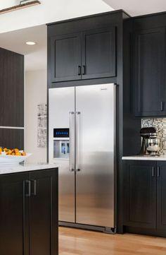 Kitchenaid Refrigerator, Refrigerator Cabinet, Counter Depth Refrigerator, Built In Refrigerator, Side By Side Refrigerator, Kitchen Redo, New Kitchen, Kitchen Remodel, Kitchen Design