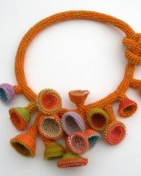 Diy Crafts - Gorgeous necklace from Karen Paust - Liquid Sunset , Necklace. Bead Crochet Rope, Freeform Crochet, Crochet Art, Crochet Leaf Patterns, Crochet Leaves, Textile Jewelry, Fabric Jewelry, Rope Jewelry, Beaded Jewelry