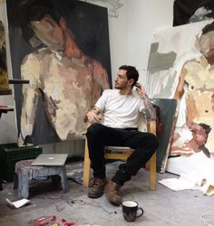 Using large canvases with loose brush strokes. Could Repaint to recycle..   Mike Rachlis in the studio