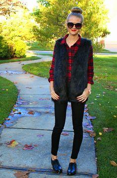 Red Plaid + Black Faux Fur Vest + Oxfords