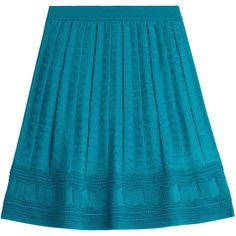 M Missoni Flared Crochet Knit Skirt ($205) ❤ liked on Polyvore featuring skirts, turquoise, m missoni skirt, m missoni, blue skirt, flare skirt and knit skirt