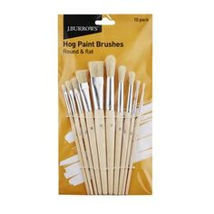 Burrows Hog Paintbrushes Round and Flat 10 Pack Christmas Gift Guide, Paint Brushes, Stationery, Tableware, Painting, Flat, Kids, Young Children