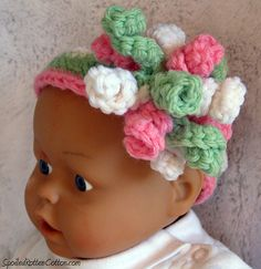 Pink and Baby Green Crochet Korker, Baby Headband, Photo Prop, Crochet Photo Prop, Newborn Photo Prop