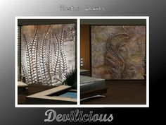 This is a plaster paintingset with 3 creations, 2 large, 1 smaller....just leaves  Found in TSR Category 'Sims 3 Decorative Sets'