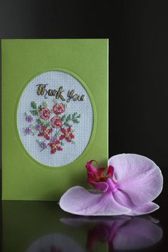 Thank you cards, Thank You With Flowers, Hand Stitched Card, card handmade, Flower, Pink roses Special Thank you, Cross stitch card Birthday