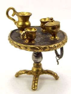 Victorian Silver & Gold Coloured Set Coffee TABLE Charm