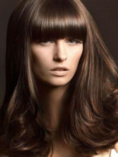 Blunt bangs with straight sides.Looks like it is layered on the bottom