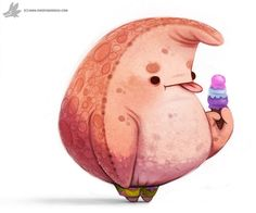 Daily Painting 882. Patrick by Cryptid-Creations on @DeviantArt Cute Animal Drawings, Cute Drawings, Totoro, Spongebob Squarepants Tv Show, Pokemon, Animal Puns, Fanart, Cute Illustration, Cute Art