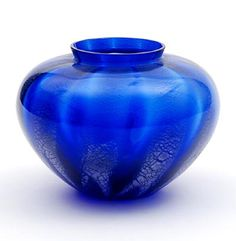 Cobalt blue glass Sonoor vase with vertical crackled bands design A.D.Copier 1935 executed by Glasfabriek Leerdam / the Netherlands