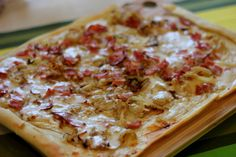 Tarte Flambee Recipe: Alsatian Bacon and Onion Tart (Flammekueche) Flambe Recipe, Pizza Recipes, Cooking Recipes, Onion Tart, Pork Ham, Alsatian, Good Pizza, Recipes From Heaven, Bacon
