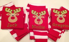 Darling Christmas pajamas in red are appliqued with a happy reindeer and your little ones name. A girls version and boys version is available!