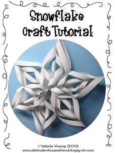 Classroom Freebies Too: Snowflake Craft. They look complicated, but once you get the hang of it, they're easy and fun! Spray with a bit of glitter for extra sparkle.