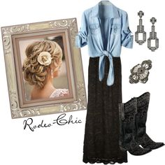 """""""Lonesome Dove"""" by rodeo-chic on Polyvore, lace maxi skirt and denim shirt, cowboy boots by @oldgringoboots  from @Maverick Western Wear"""