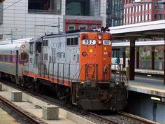 An MBTA GP9 locomotive making a non-revenue move into South Station in Boston, Massachusetts.