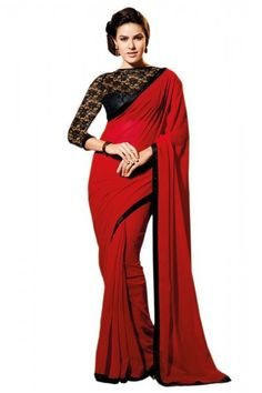 Chiffon Party Wear Saree in Red and Black Colour