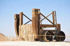 Reconstruction of a Roman siege engine at the Masada.