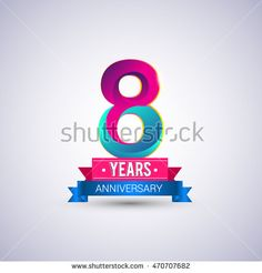 8 years anniversary logo, blue and red colored vector design