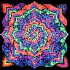 UV Backdrop Spiral Lotus Wandbehang 2,1m x 2,1m Hippie Goa Tuch Space Tribe Psy