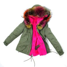 HOT-winter-Womens-Warm-Sexy-Parka-Jacket-multicolor-real-Fur-collar-hooded-Coat