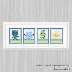 Set of 4  Unframed Peek A Boo Monster 8x10 by PersonalizedbyDiane