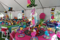 Wonderland / Mad Hatter party. Decorated tables provided by WONDERLAND PARTY PROPS. See us on Facebook our call 661 250-8164
