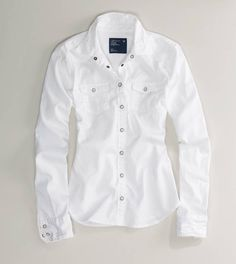 AE White Chambray Western Shirt, M, $48.74