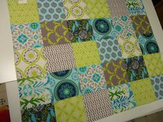 Modern Baby Quilt Gray Grey Aqua Lime Green by NowandThenQuilts, $95.00