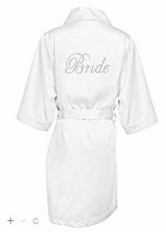 Custom White Satin Rhinestone Bride Robe