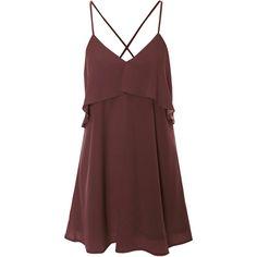 Burgundy Layered Cami Dress (110 HRK) ❤ liked on Polyvore featuring dresses, vestidos, short dresses, burgundy, short ruffle dress, frilly dresses, ruffle cami, short red dress and red dress