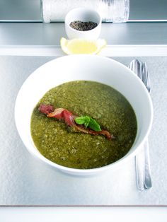 Pea and bacon soup with a hint of lemon & mint