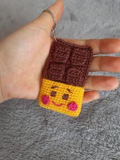 Crochet Keychain Pattern, Chocolate, Key Rings, Crochet Earrings, Friendship Bracelets, Handmade, Jewelry, Construction, Art