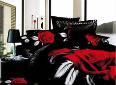Shop our best value Black and Red Bedding Set on AliExpress. Check out more Black and Red Bedding Set items in Home & Garden, Bedding Sets! And don't miss out on limited deals on Black and Red Bedding Set! Red Bedding Sets, 3d Bedding, Cheap Bedding Sets, Cheap Bed Sheets, Floral Bedding, Queen Bedding Sets, Luxury Bedding Sets, Black Bedding, Affordable Bedding