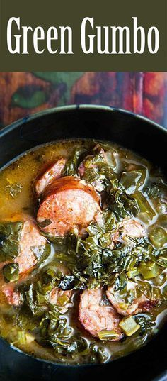 cajun and creole recipes A traditional Louisiana gumbo served during Lent that is based on loads of greens such as collards, kale, turnip greens and spinach. Louisiana Recipes, Cajun Recipes, Soup Recipes, Cooking Recipes, Gumbo Recipes, Haitian Recipes, Louisiana Gumbo Base Recipe, Cajun And Creole Recipes, Vegan Soul Food Recipes