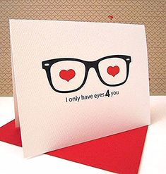 Valentines Quotes Items similar to Love Card / Anniversary Card / Geek Glasses Card / Nerd Love Card / I Only Have Eyes 4 you on Etsy Nerd Valentine, Valentine Day Crafts, Happy Valentines Day, Pinterest Valentines, Homemade Valentines, Invitation Fete, Geek Glasses, Tarjetas Diy, Anniversary Cards