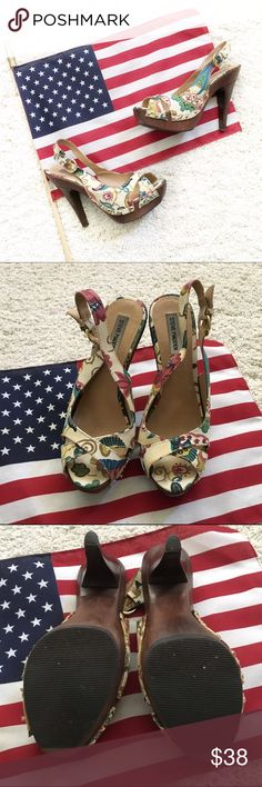 Steve Madden sling back heel w/ wood soul🇺🇸💕 Steve Madden floral sling back heel w/ wood soul🇺🇸💕 Steve Madden Shoes Heels