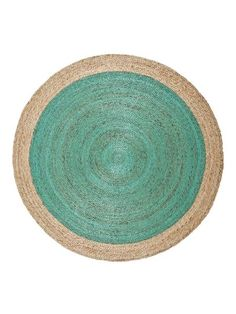Armadillo & Co. Pinwheel braid weave hemp rug - neptune green. Circular rug, round floor mat.