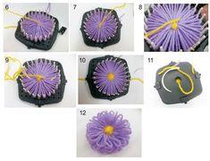 img3                                                                                                                                                                                 Mais Loom Flowers, Beaded Flowers, Fabric Flowers, Spool Knitting, Diy Crochet, Flower Crafts, Shibori, Lana, Tatting